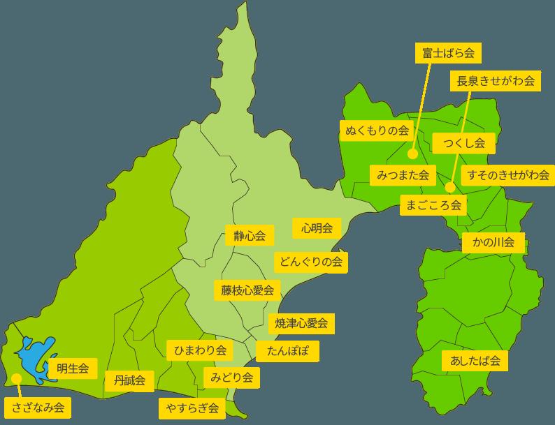 静岡県もくせい会のマップ